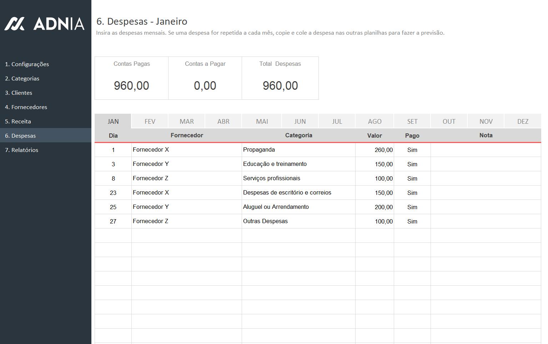 Planilha de Controle Financeiro Simples - Cadastro de Despesas