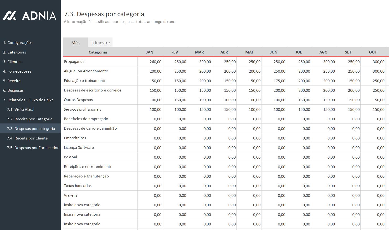 Planilha de Controle Financeiro Simples - Despesas por Categoria