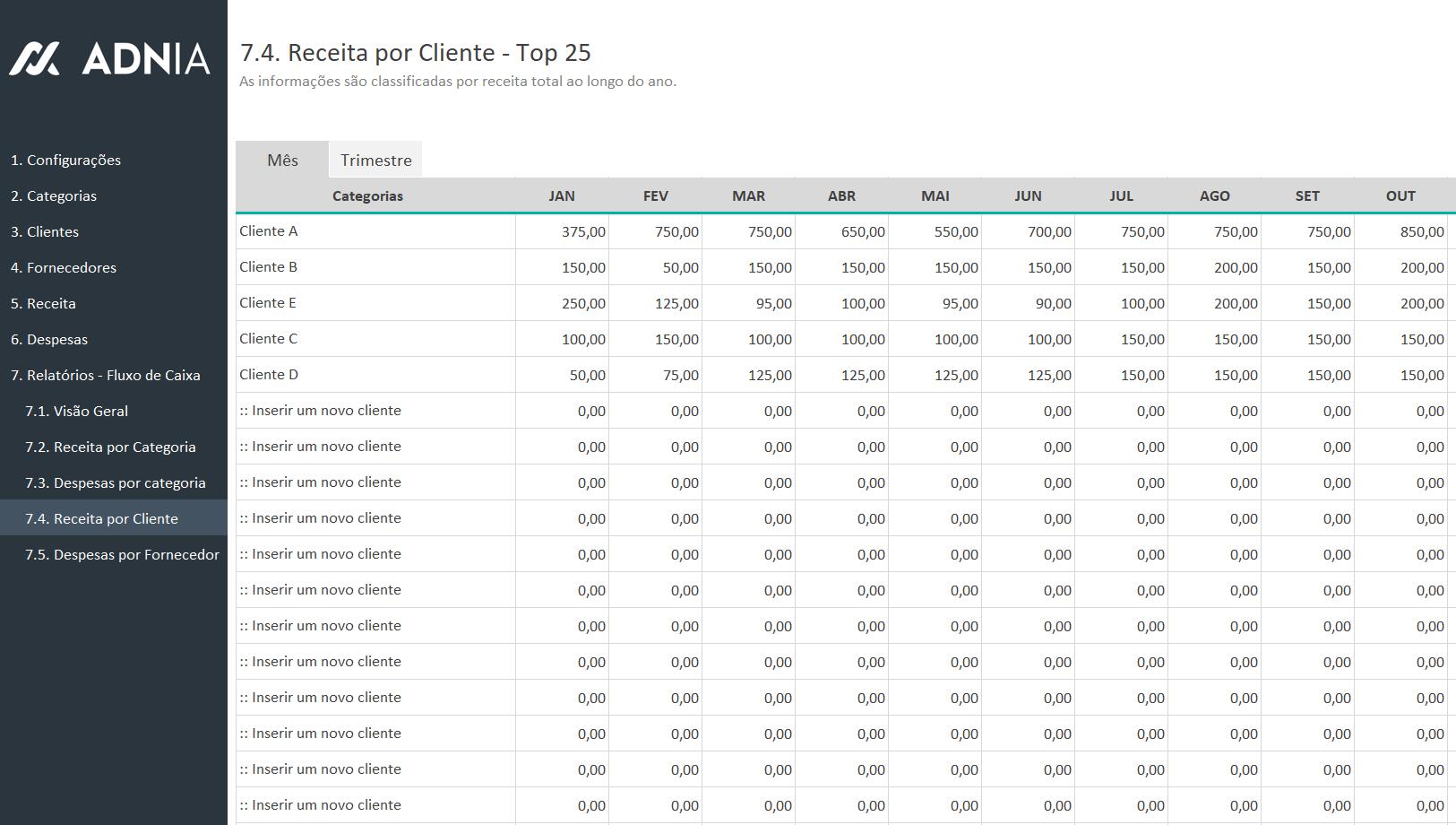 Planilha de Controle Financeiro Simples - Receita por Cliente