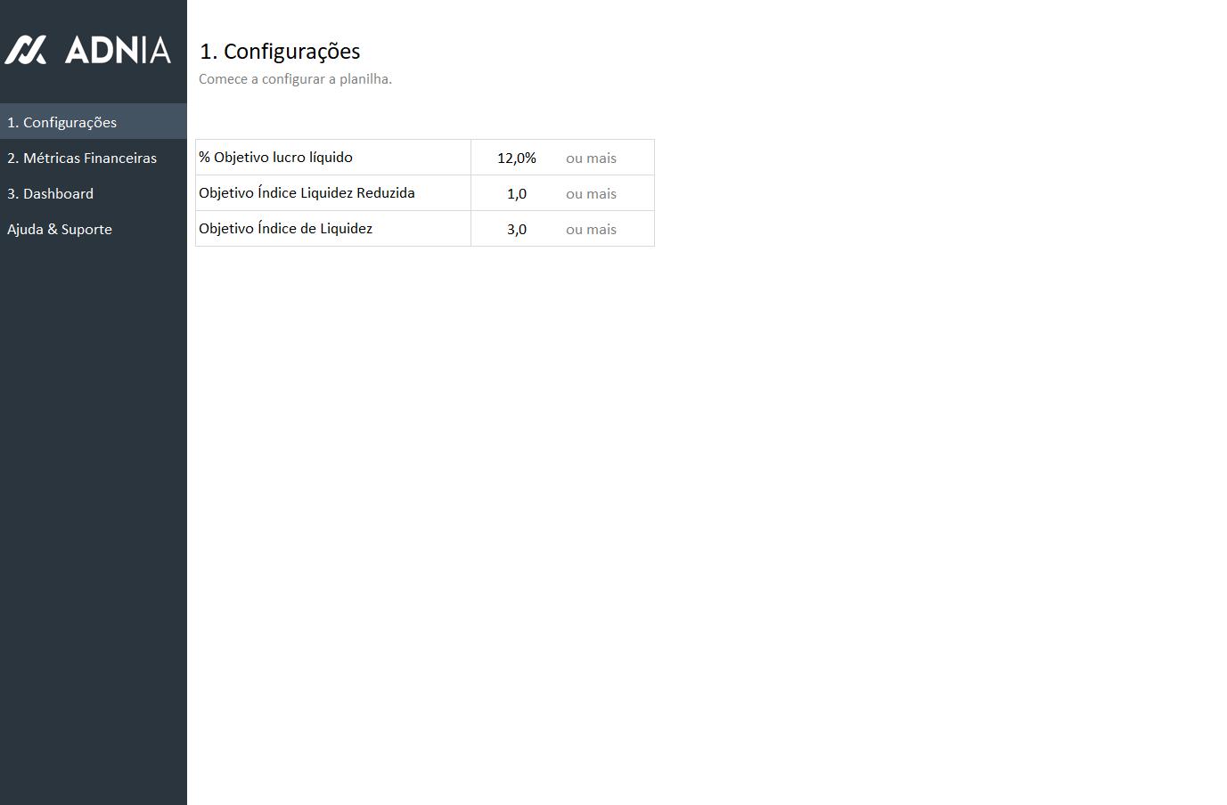 Planilha Dashboard Financeiro - Config