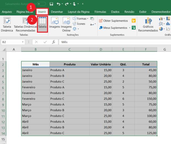 Como Inserir Tabela no Excel